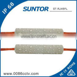Silicone material rj45 coiled cable connector with 90 degree to wifi antenna