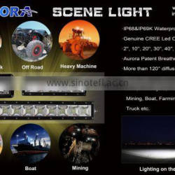 10 inch 100W Aurora New designed Mining Farming vehicle IP69K waterproof and dustproof high power Scene light bar