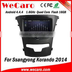 Wecaro WC-SY8067 Android 4.4.4 car dvd player quad core for ssangyong korando gps stereo tv tuner 2014 2015