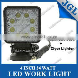Square 24W Heavy Duty High Powered LED Flood Light with Magnetic Base work light for tructor