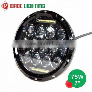 New Jeep Wrangler 75W Led Headlight, Round 75 Watt Led Work Light, 7 inch 75 Watt Led Headlight