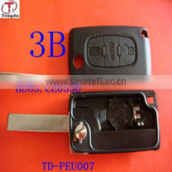 Tongda Foldable 3 button remote key with light CE0536(no groove) for puegeot citroen