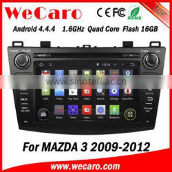 """Wecaro Android 4.4.4 multimedia sytem 8"""" in dash android double din car dvd player for mazda 3 radio gps bluetooth 2009-2012"""