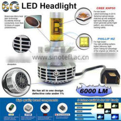 High power 60w led car headlight h4 with 5 color available