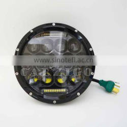 "sealed beam best price car accessories 7"" round 75W LED headlamp with DOT SAE E9 FCC CE ROHS for JEEP ATV UTV"