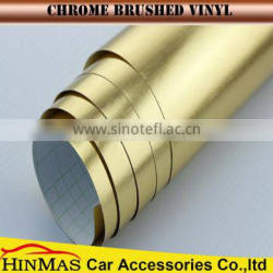 Highly Stretch Gold Brushed Chrome //metal brushed vinyl car wrap with air channels