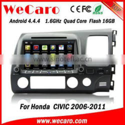 "Wecaro android 4.4.4 car gps high quality 8"" touch screen car dvd for honda civic OBD2 Playstore right hand 2006 - 2011"