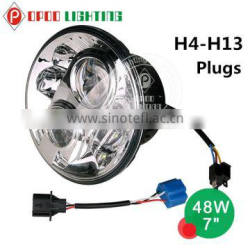 "High Performance 7"" round led headlight,Hi/Lo 48W 7"" round led headlight"