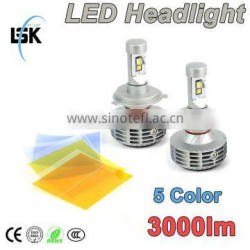 Latest all in one High low beam h4 3000lm car led headlight bulbs 5 color temperature available