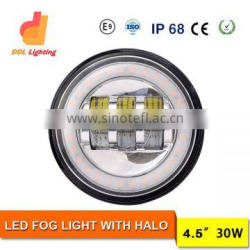 30W Hot round led headlight for jeep offroad 4.5 inch with angle eyes jeep wrangler fog light
