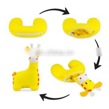 Custom Cartoon Soft Plush Giraffe Toy Memory Foam Travel Neck Pillow Fashion 2 in 1 Switch Reversible Animal U Shape Pillow