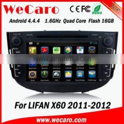 Wecaro Android 4.4.4 WIFI 3G car multimedia for lifan x60 car dvd gps player with gps navigation system 2011 2012 Quality Choice