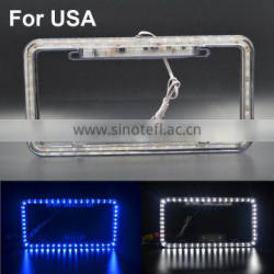 "Car White Blue Neon LED License Plate Frame Light For USA/Canada (12"" X 6"" ) All Cars Truck Super Intelligent Brake Lamp Quality Choice"