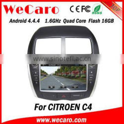 Wecaro Android 4.4.4 car dvd player 1024 * 600 mp3 player for citroen c4 WIFI 3G GPS