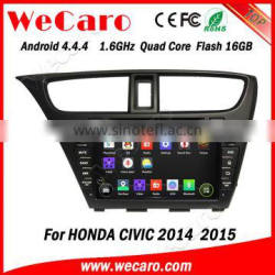 Wecaro android 4.4.4 touch screen car dvd player for honda civic BT gps 3g wifi TV 2014 2015