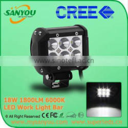 2015 Sanyou 18W 1800lm 6000k LED Auto Work Light Bar, 4inch led light bar for offroad, Jeep, SUV