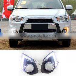 12V DRL With Fog Lamp Hole Turn Signal 9 LED Daytime Running Lights For Mitsubishi ASX 2013 2014 Quality Choice