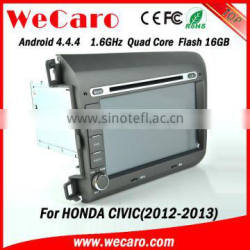 "Wecaro android 4.4.4 car dvd touch screen 8"" for civic steering wheel BT gps 3g TV 2012 2013"