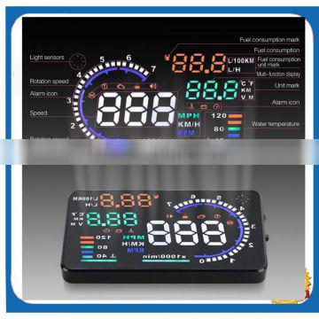 2015 OEM New 5.5 Inch A8 HUD with Multi Color Car Head Up Display Universal Overspeed Warning OBD II speedometer Display MPH/KM Quality Choice