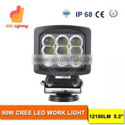 hot sale square 7inch 90w led driving light 4x4 led work light for trucks, tractors, offroad