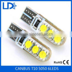 Car auto parts 12v led light canbus T10 5050 6 smd car bulb crystal light for cars