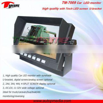 TOPFAME TM-7009 7inch Car LCD monitor with sun shade and 4 Split Screen Display