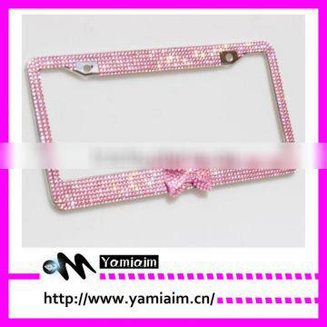 Pricess pink bow tie attchment diamond License Plate Frame Car accessories Auto OEM Cute