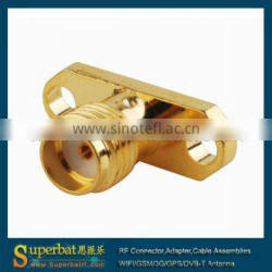 sma antenna connector 2 hole panel mount jack with long dielectric and solder Post