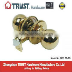 6873PB-PS:ANSI Grade 3 Brass Tubuar Passage Knob Lock
