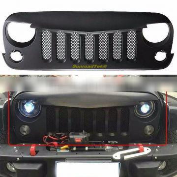 Matte Black Angry Bird Style Paintable Front Grille for 2007-2016 Jeep Wrangler JK