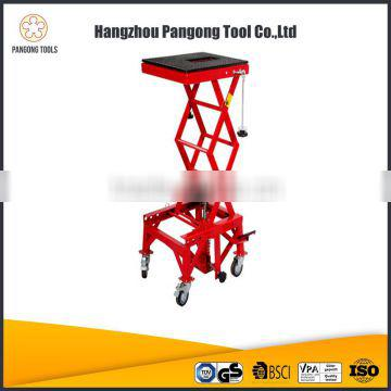 China Tool 300LB Motorcycle Holder Hydraulic Table Lift Tool With Universal Wheels
