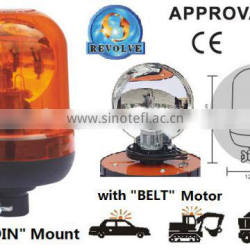 E-MARK Revolving Halogen Warning Light, ECE MARK Rotating Halogen Warning Beacon(SR-BL-503R-3) With Europe DIN Mount Pole Beacon