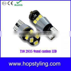 100% super bright T10 2835 9smd canbus led , T10 led side marker light