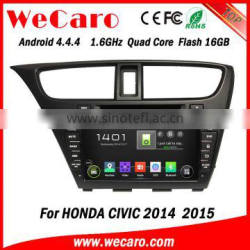 "Wecaro android 4.4.4 car dvd player high quality 8"" for honda civic dashboard Steering Wheel Control 2014 2015"