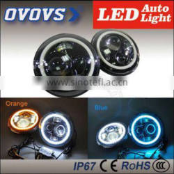 7'' 40w 12v two color changeable angel eyes braking DRL fog lamp headlight led for cars 4x4 j-eep JK TJ