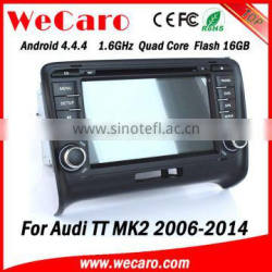 Top Version Android 4.4.4 navigation system 1024 * 600 for audi tt car multimedia system mirror link A9 cpu 2006-2014
