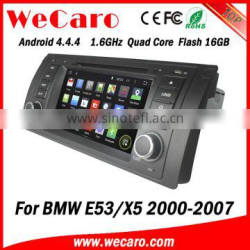 Top Version Android 4.4.4 car dvd in dash car radio with gps for bmw x5 mirror link bluetooth 2000-2007