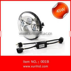 Halo 7 inch round led headlight for offroad, Jeep wrangler 7 inch led headlight, 7 inch round led headlight 12v 24v