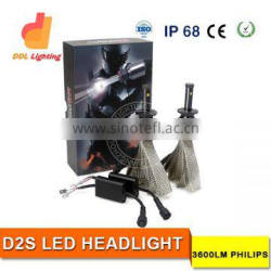 high piwer 24w h4 h7 h11 d2s fanless p-hilips auto car led headlight kit