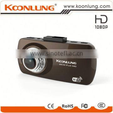 GPS WIFI dual camera full HD detached car DVR black case car recorder