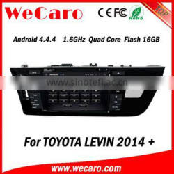 Wecaro Android 4.4.4 car multimedia system in dash car dvd player for toyota levin android GPS 2014 2015