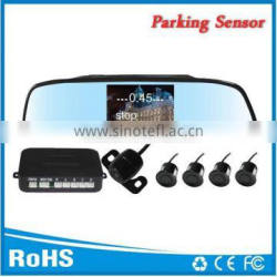 4.3inch rearview mirror parking sensor system with two way video input and 4 sensors