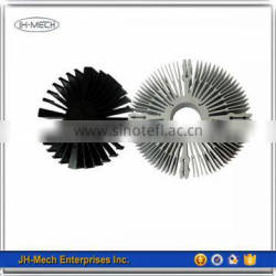 Black/silver anodized lamp heat sinks with hole in middle