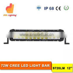Double row 72W led light bar 4x4 led off road light bar 12V 12inch led bar light