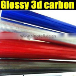 new arrival glossy chrome 3d carbon sticker 1.35*30m each roll