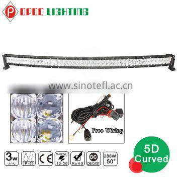 "Waterproof 5D reflectors offroad 50"" 288w led light bar"