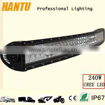 Hot sell curved light bar 240w curved headlight auto led light bar in China