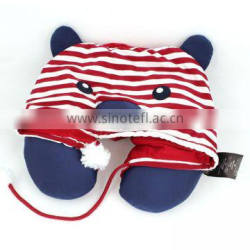 New style custom u shape travel neck pillow with hat fashion soft plush stuffed animal u pillow