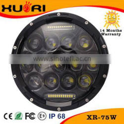 "Factory supply super bright 75w 7"" round led headlight Hi-Lo beam for Jeep"