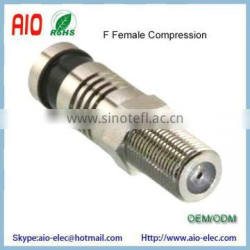 Dual Shield F female jack compression connector for RG6 Coaxial Cable